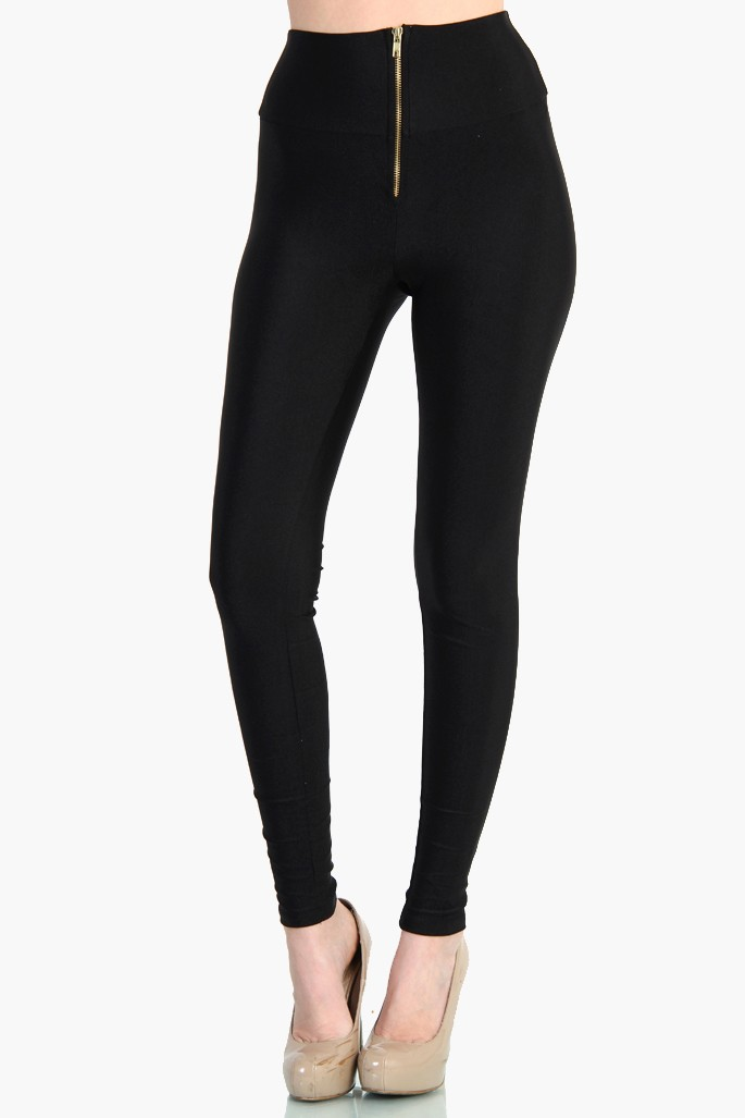 largest selection of 2019 price hot-selling real HIGH WAIST ZIPPER FRONT LEGGINGS - SHINY NYLON TRICOT - BLACK