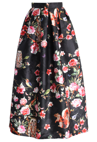 skirt chicwish midnight garden full maxi skirt in black pleated skirt printed skirt full maxi skirt black skirt floral skirt chicwish.com
