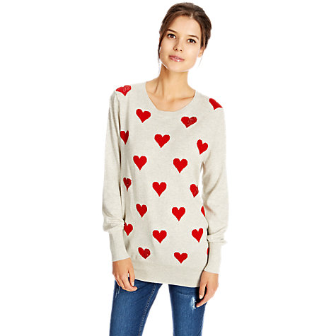 Buy Oasis Heart Intarsia Jumper, Mid Neutral online at John Lewis