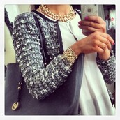 jacket,bag,gold,silver,white,blouse,chanel,sophisticated,blazer,jeans,outfit,jewels,cardigan,grey,classic,sweater,grey blouse,pretty,necklace,bracelets,colorful,black