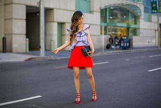 skirt mini skirt ruffled top chanel bag sandals red sandals blogger blogger style peplum skirt