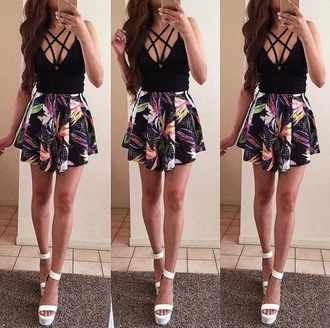 dress summer style tropical skater dress mini dress girly fashion black dress strappy rose wholesale beautiful streetwear pretty cute sexy dress tumblr weheartit cute dress