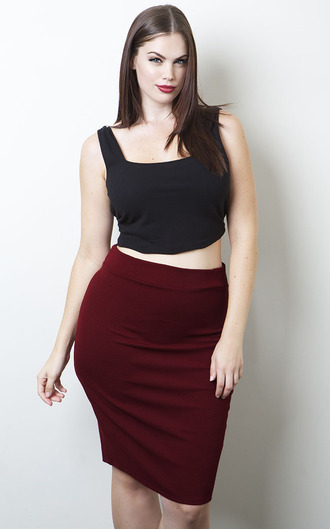 top chloe marshall plus size curvy pencil skirt red skirt skirt black crop top crop tops summer outfits