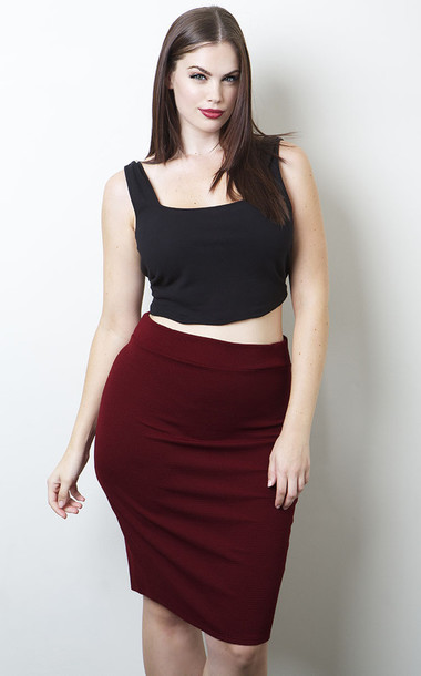 Top chloe marshall plus size curvy pencil skirt red skirt skirt black crop top crop tops ...