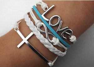 Amazon.com: vintage silver infinite bracelet love white blue leather rope cross infinity: everything else