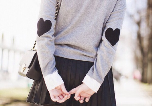 kawaii asian fashion ulzzang heart grey preppy elbow patches asian heart sweater black skater skirt