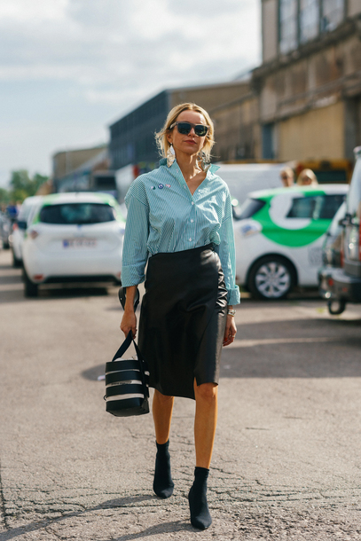 012868c800 skirt, copenhagen fashion week, streetstyle, midi skirt, leather ...