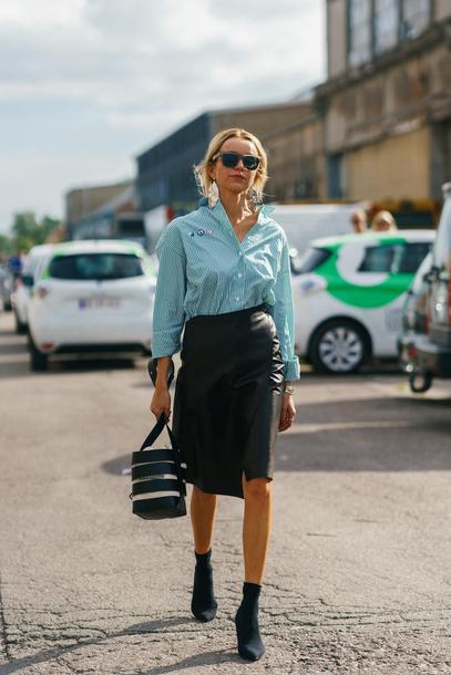7849c4602d skirt, copenhagen fashion week, streetstyle, midi skirt, leather ...
