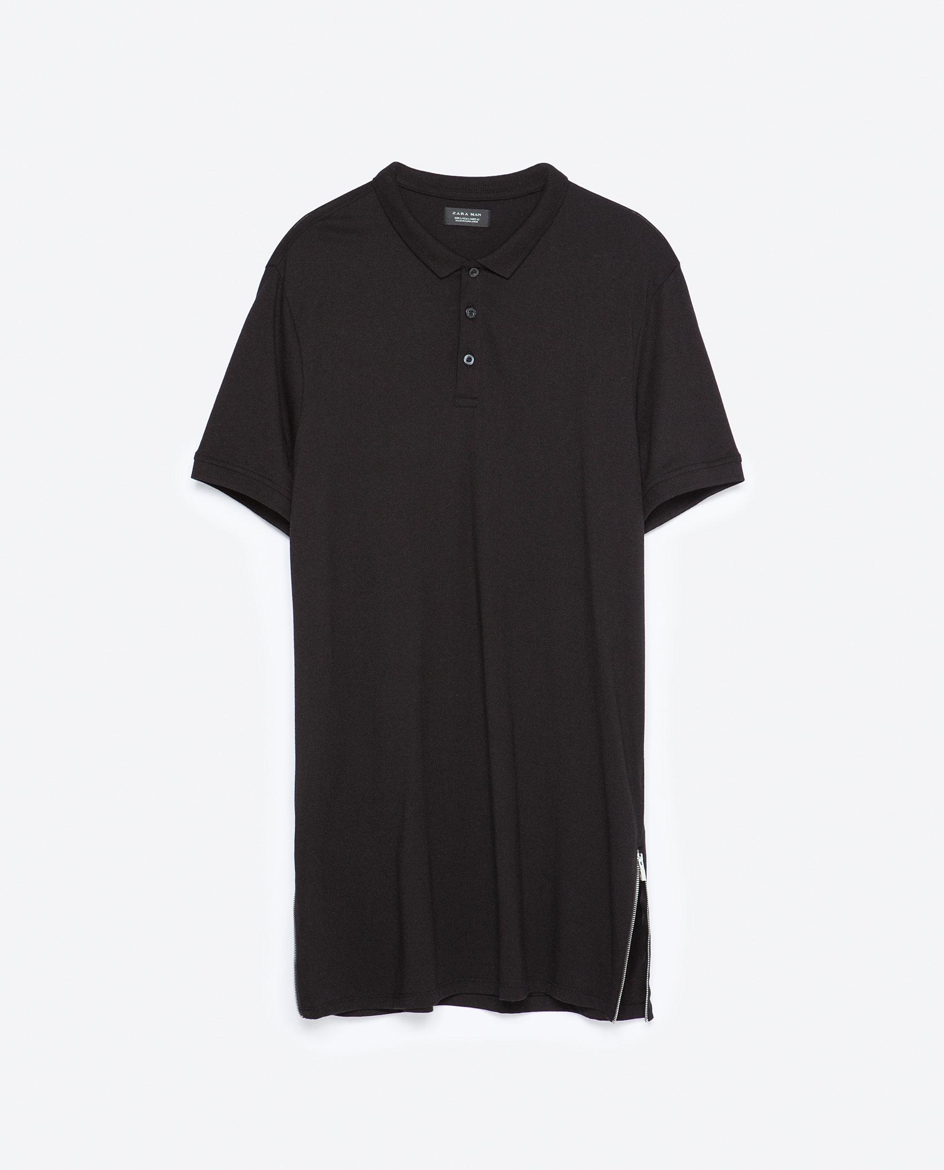 Long length zipped polo shirt polo shirts man sale for Zara mens shirts sale