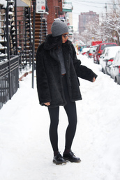 babes in velvet,blogger,leggings,faux fur jacket,black coat,beanie,cropped sweater,winter outfits,top,shoes,sweater