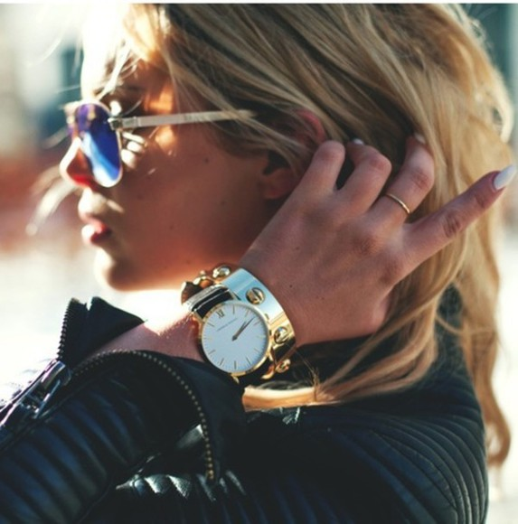 leather jacket jewels clock fashion sunglasses beautiful fall outfits people jacket clothers