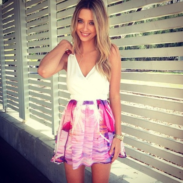 dress skirt white dress floral dress