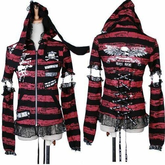 shirt red jacket hoodie black lace skull woman top punk