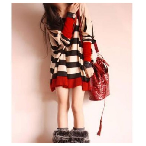 Oversize stripe pullover with cutout shoulder