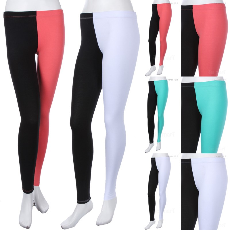 Cotton Color Block Leggings Two Tone Tights Skinny Pants Stretchable Comfy Span | eBay