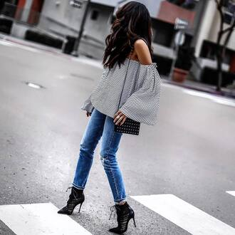top tumblr off the shoulder off the shoulder top bell sleeves stripes striped top denim jeans blue jeans boots black boots ankle boots bag black bag shoes