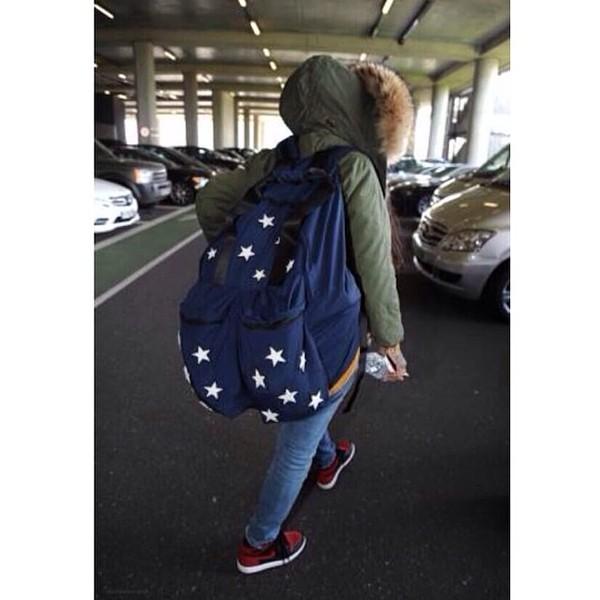 bag blue and white stars nice rihanna coat