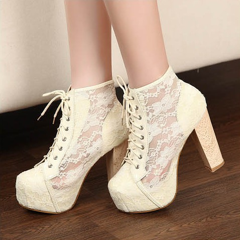 shipping cheap thick heel black/white lacing ankle fashion boots ...