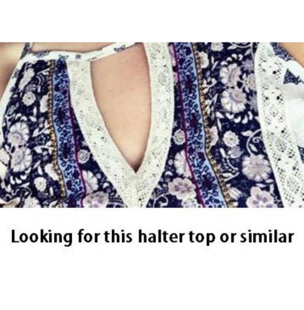 tank top halter top floral pattern keyhole juniors floral high neck top halter neck key hole top