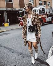 coat,leopard print,mini dress,white dress,crossbody bag,booties,white boots,sunglasses,necklace