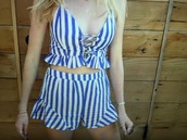 jumpsuit,blue and white striped tank top