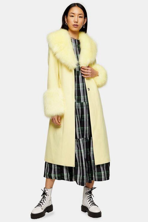 Yellow Faux Fur Trim Coat - Lemon
