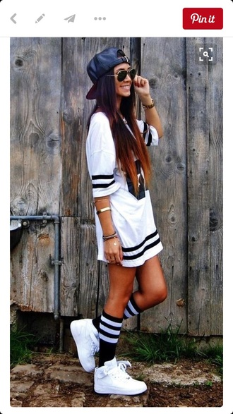 socks knee high socks nike shoes nike adidas jersey dress jersey adidas originals adidas shoes white top black and white shirt