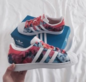 shoes,adidas superstars,adidas,adidas originals,red,blue,smoke,tumblr,adidas shoes,superstar,colorful,multicolor,flowers,rose,floral,tie dye,floral shoes,low top sneakers