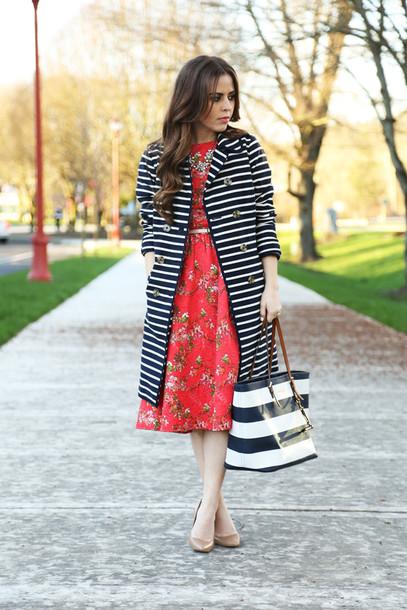 dress corilynn blogger coat red dress stripes floral dress