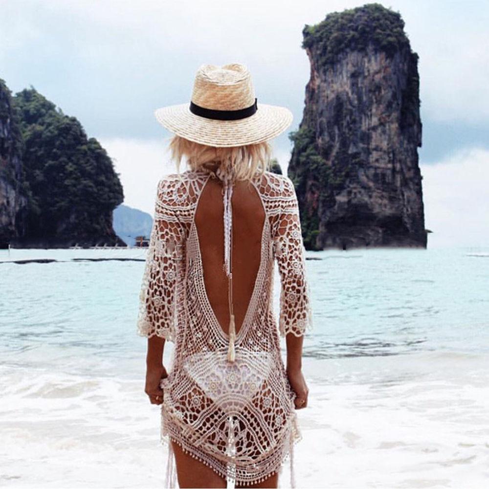 Sexy Women Lace Crochet Bikini Cover Up Swimwear Bathing Suit Summer Beach Dress