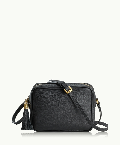 Black Madison Crossbody | Pebble Grain Leather | GiGi New York