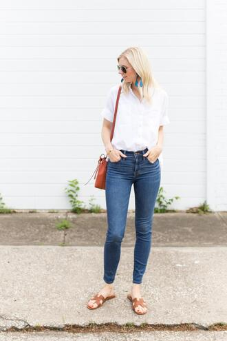 a piece of toast blogger shirt jeans shoes bag jewels white shirt skinny jeans spring outfits