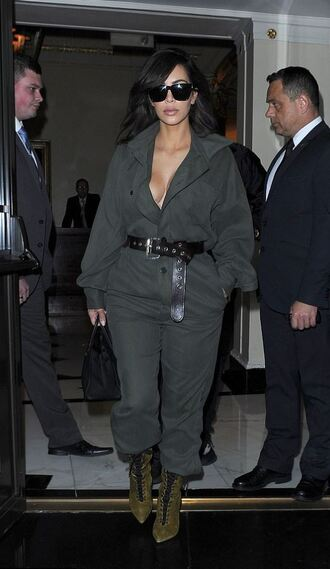 jumpsuit kim kardashian military style kardashians boots belt sunglasses shoes