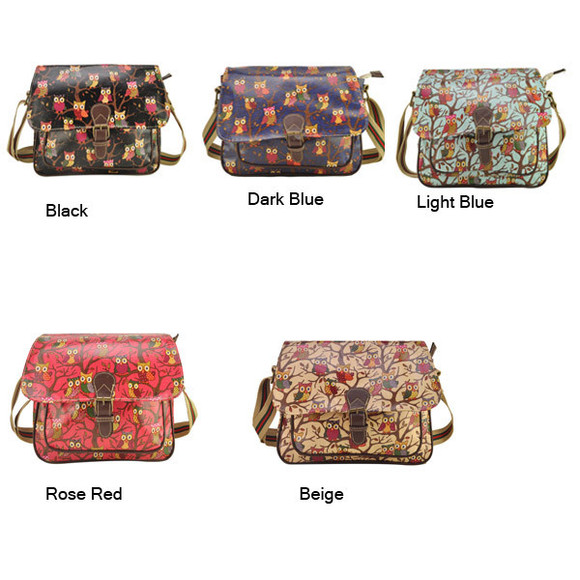 women bag banggood owl printing saddle bag