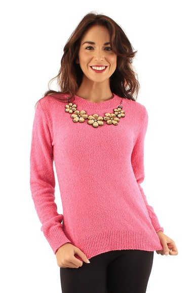 pink pink dress winter outfits sweater girly cardigan winter sweater pink jewels flower print necklace flower necklace warm sweater wool sweater jumper cute sweaters cute outfits