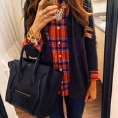 jewels,handbag,leather handbag,bag,shirt,hat,sweater,oversized cardigan,blouse,jacket,watch,blue,bags 2014,necklace,jewelry,brunette,curly hair,plaid shirt,flannel shirt,cardigan,navy,under,plaid,orange,red,green