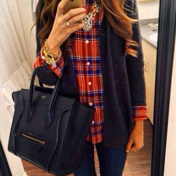 jewels handbag leather handbag bag shirt hat sweater oversized cardigan bag blouse jacket watch shirt blue bags 2014 necklace jewelry brunette curly hair plaid shirt flannel shirt cardigan navy under plaid orange red green