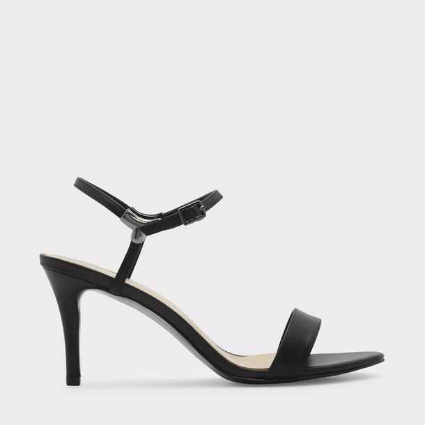 heel open sandals black shoes