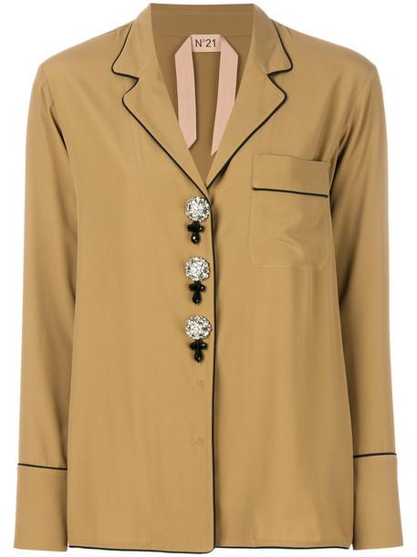 No21 shirt style women nude silk top