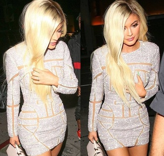 dress kylie jenner kylie jenner dress bodycon long sleeve dress diamonds sparkle sparkly dress