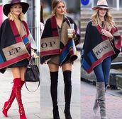burberry,plaid,cape,olivia palermo,style,trendy,boots,lace-up shoes,thigh high boots,poncho,blanket scarf,candice swanepoel,coat