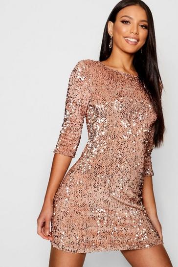 Sequin Long Sleeve Bodycon Dress | Boohoo