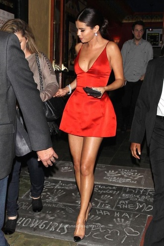 dress silk silk dress red dress selena gomez pretty cute dress cute outfits