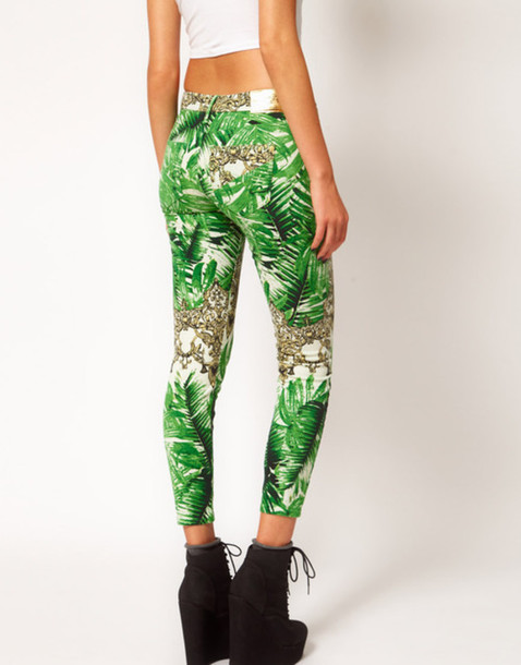 pants skinny jeans tropical tropical jeans green gold skin-tight size 6