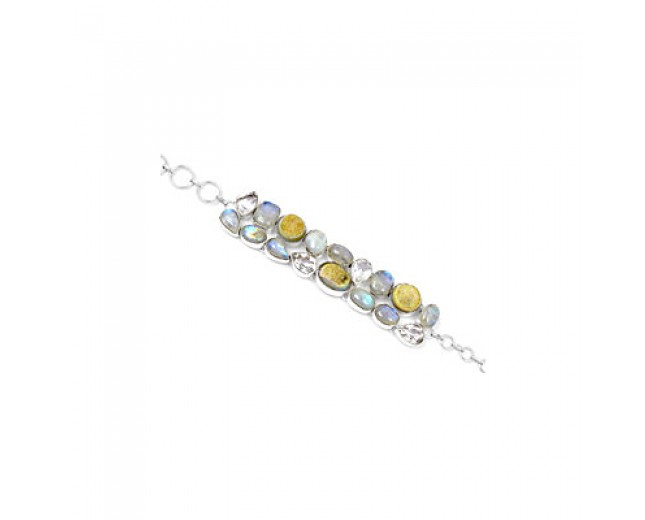 Handcrafted 925 sterling silver Rainbow Moonstone And Crystal Gemstone Cluster Bracelet