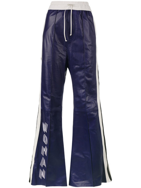 Off-White pants track pants high waisted high women leather blue