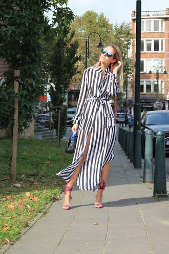 from brussels with love blogger dress shoes bag sandals high heel sandals striped dress