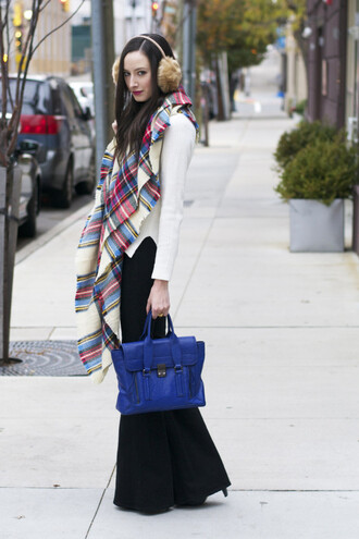 the glam files blogger scarf sweater shoes bag satchel bag blue winter outfits wide-leg pants jewels jeans
