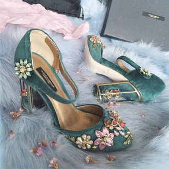 shoes teal velvet embellished floral shoes thick heel velvet shoes dolce and gabbana mary jane flowers designer