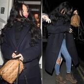 coat,rihanna,boots,skinny jeans